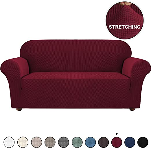 Amazon.com: Stretch Sofa Covers Burgundy Couch Cover for 3 .
