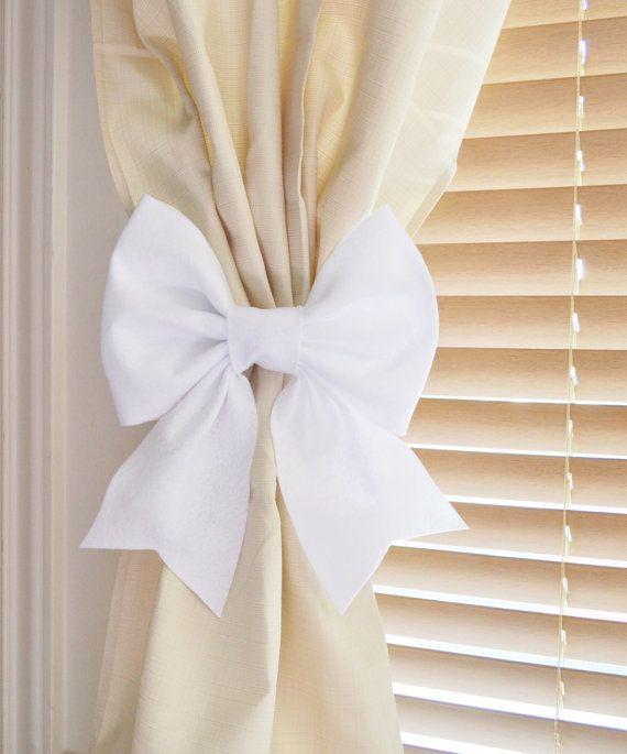 TWO WHITE BOW Curtain Tie Backs. Decorative Tiebacks Curtain .
