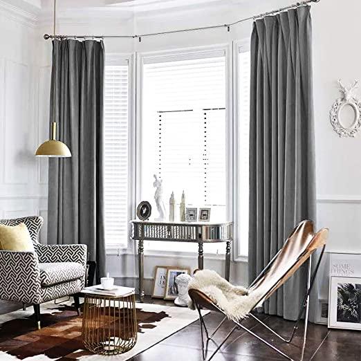 Amazon.com: jinchan Velvet Curtain Grey Living Room Rod Pocket .