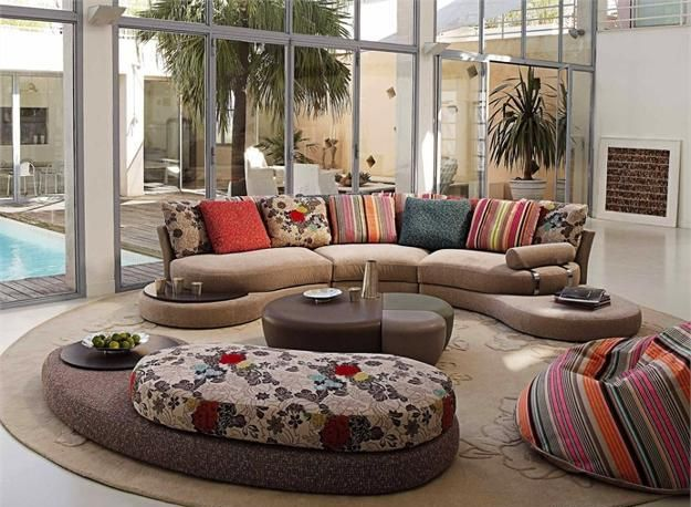 20 Modern Living Room Designs with Stylish Curved Sofas | Living .