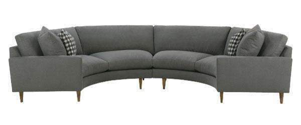 Clarice 2 Piece Curved Fabric Upholstered Sectional Sofa - Club .