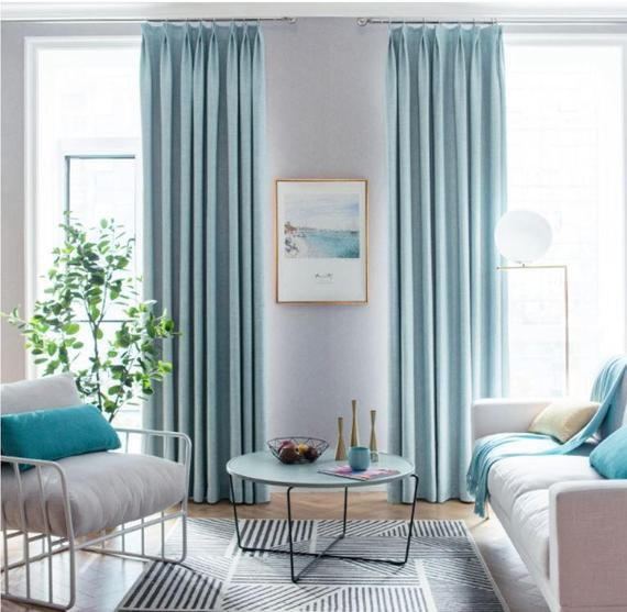 Pair of Powder Blue Curtains custom drapes Custom curtains | Et