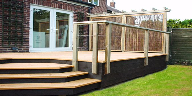 A small raised deck that you could put garden & toy storage .