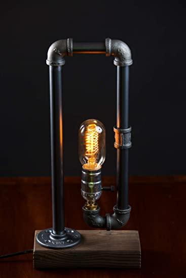 Minimalist Industrial Steampunk Desk Lamp Wood Base w Iron Piping .