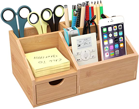 Homfa Bamboo Desk Organiser Desk Tidy Pen Holder Letter Rack .