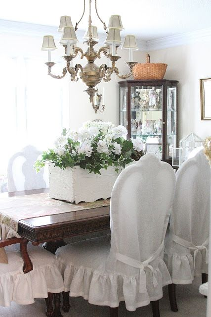 Dining Chairs Slip Cover Reveal | Slipcovers for chairs, Dining .