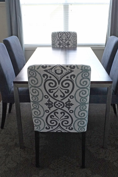 DIY Dining Chair Slipcovers from a Tableclo