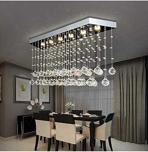 """Moooni L40"""" Contemporary Rectangle Crystal Chandelier Modern ."""