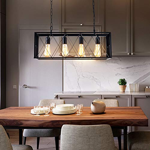 ISRAMP 4 Lights Pendant Lighting, Industrial Kitchen Light .