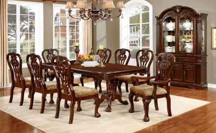 Elana Cherry Extendable Rectangular Dining Room Set - 1StopBedroom