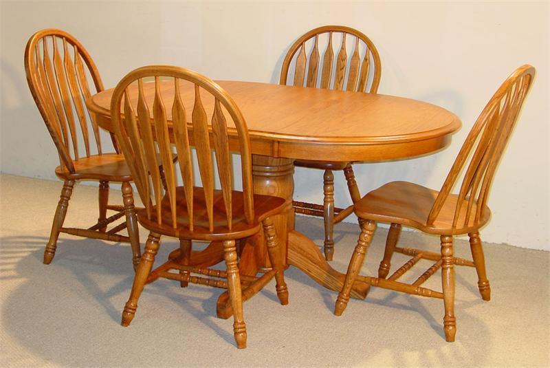 Oval Solid Oak Table Set in Golden w/ 4 Chai