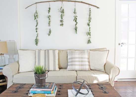DIY Wall Decor - Eucalyptus Branch - The Honeycomb Ho