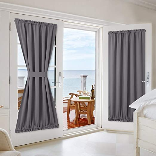 Amazon.com: NICETOWN Grey French Door Curtains - Blackout Patio .