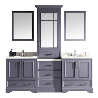 ARIEL Stafford 85-in Grey Double Sink Bathroom Vanity with White .