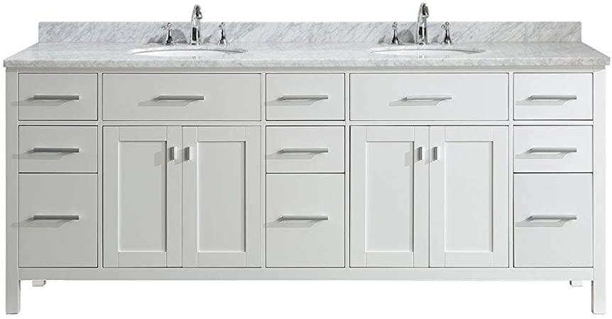 "Luca Kitchen & Bath LC84CWW Geneva 84"" Double Vanity Set in White ."