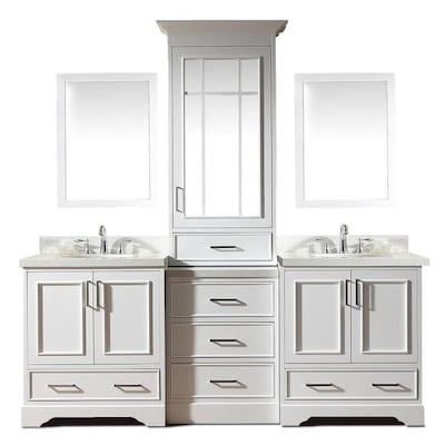 ARIEL Stafford 85-in White Double Sink Bathroom Vanity with White .