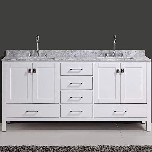 "Amazon.com: Design Element DEC082B-W London Hyde 72"" Double Vanity ."