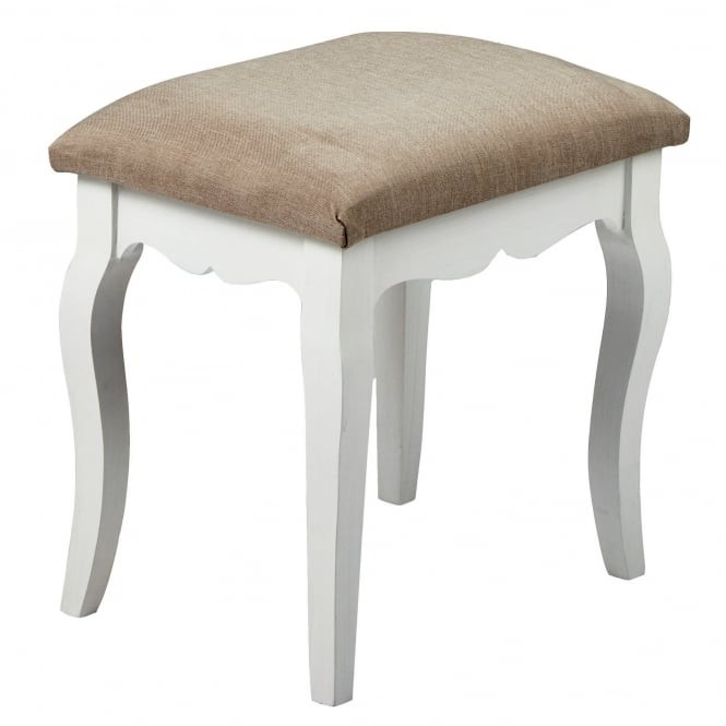 LPD Furniture Brittany White and Grey Dressing Table Stool from .