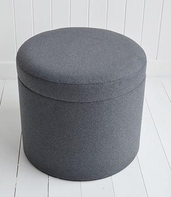 Westhampton grey storage dressing table stool - The White .