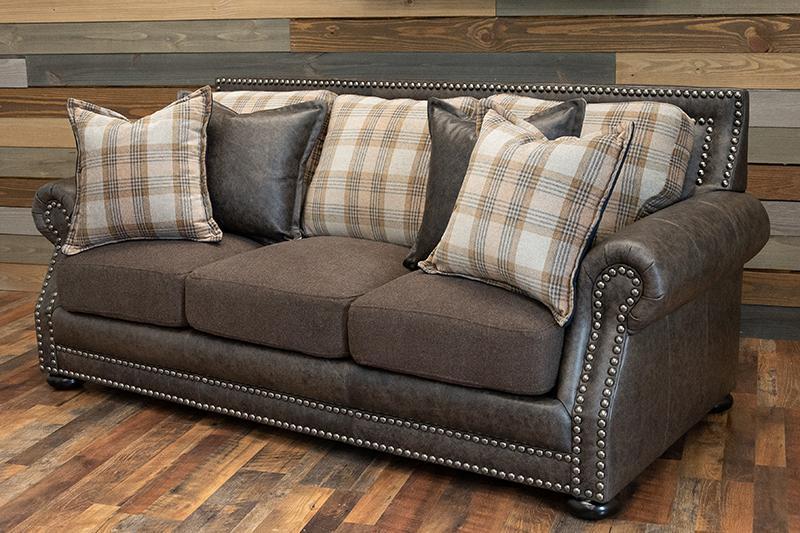 Hamilton Sofa - Grey Trend leather and fabric combo – Big Sky Dec