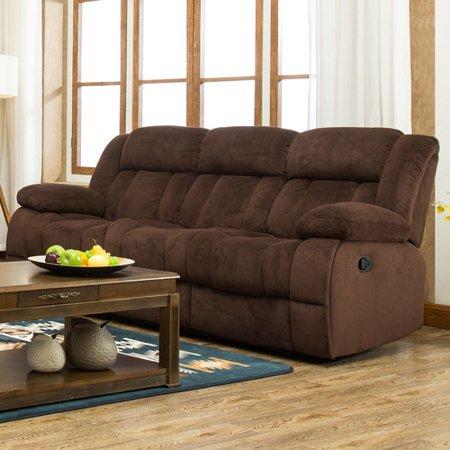 Traditonal Brown Fabric Recliner Sofa - Walmart.com - Walmart.c