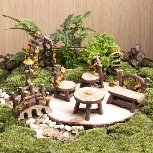Miniature Fairy Garden Furniture Resin Tree Stump Bridge Ornament .