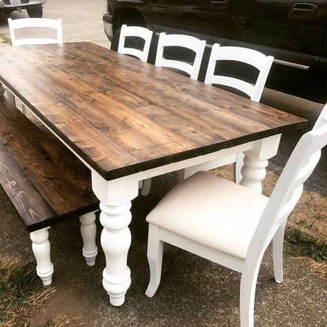DIY farmhouse table made for $250 using chunky farmhouse legs .