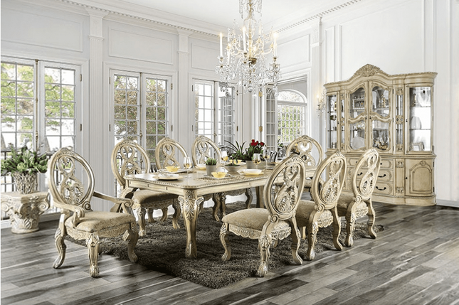 Tuscan Villa Antique White Traditional Formal Dining Room .