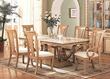 Amazon.com: 7pc Formal Dining Table & Chairs Set Light Maple .