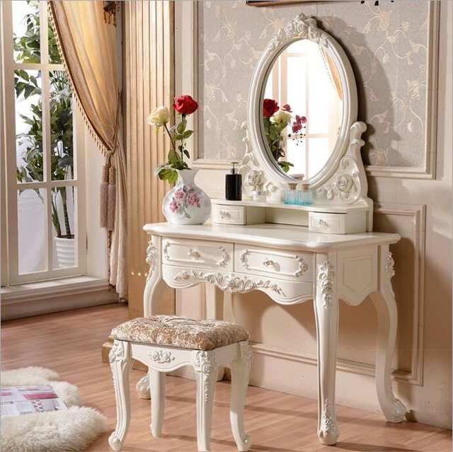 European mirror table modern bedroom dresser French furniture .