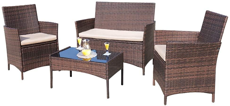 Amazon.com : Homall 4 Pieces Outdoor Patio Furniture Sets Rattan .
