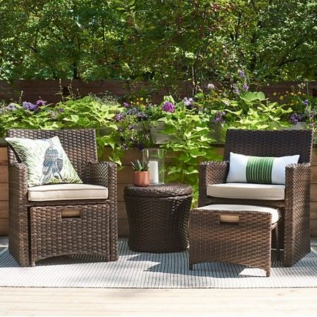 Halsted 5pc Wicker Patio Seating Set - Tan - Threshold™ | Small .