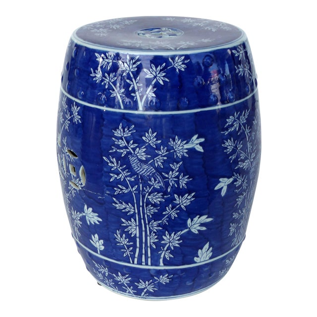 Chinese Blue & White Porcelain Garden Seat W/ Bamboo Motif | Chairi