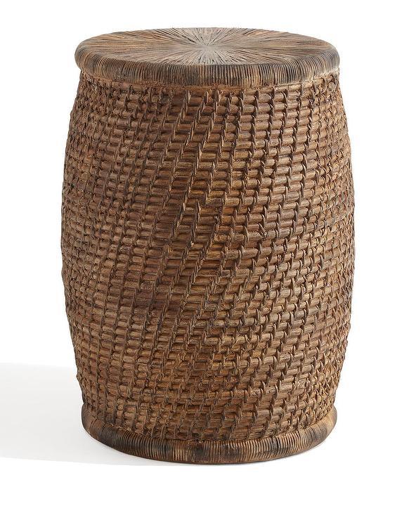 Faux Rattan Stone Drum Garden Se