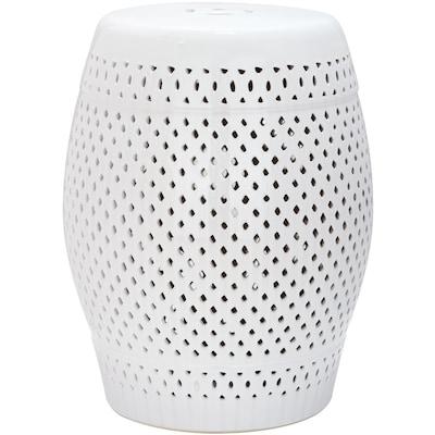 Safavieh 18.5-in White Ceramic Barrel Garden Stool at Lowes.c