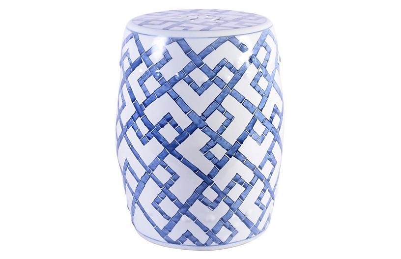 Chen Bamboo Garden Stool, Blue/White | One Kings La