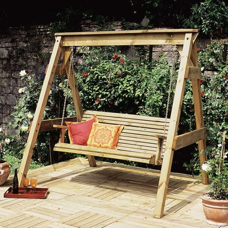 Wooden Swing Seat - Large Heavy Duty 3 Seater Outdoor Garden Swing .