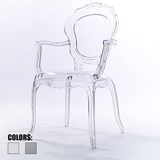Amazon.com: 2xhome Clear Modern Ghost Chair Armchair Vanity Dining .