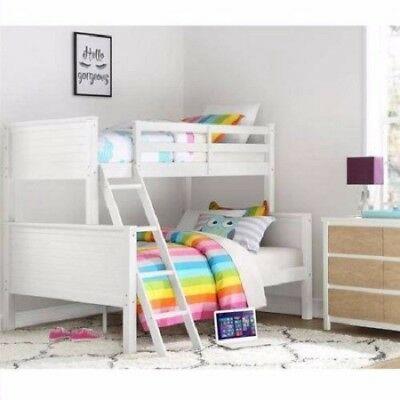 Twin over Full White Wood Bunk Bed Kids Boys Girls Bedroom .