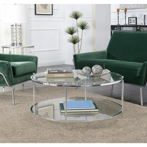 Royal Crest 2 Tier Round Glass Coffee Table Glass/Chrome - Johar .