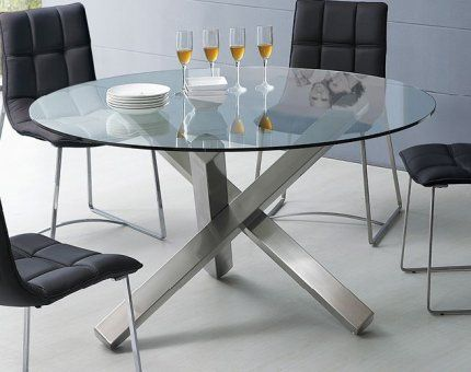 Round Glass Dining Table with Unique Metal Base (With images .