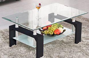 Amazon.com: Mecor Rectangle Glass Coffee Table-Modern Side Coffee .