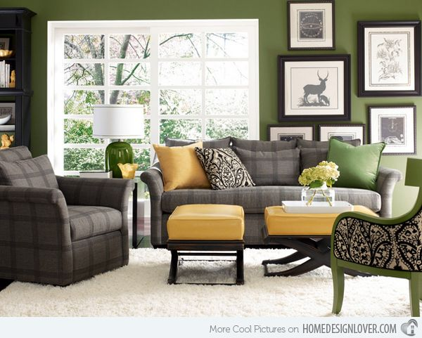 15 Lovely Grey and Green Living Rooms | Living room green, Living .