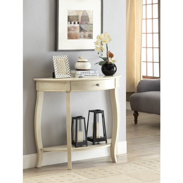 Shop Yvonne Half-Moon Console Table with Drawer in Antique White .