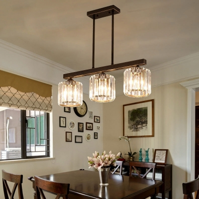 Cylinder Hanging Lamps Modern Iron and Crystal 3 Light Island .