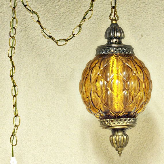 Vintage hanging light - hanging lamp - amber globe - chain cord .