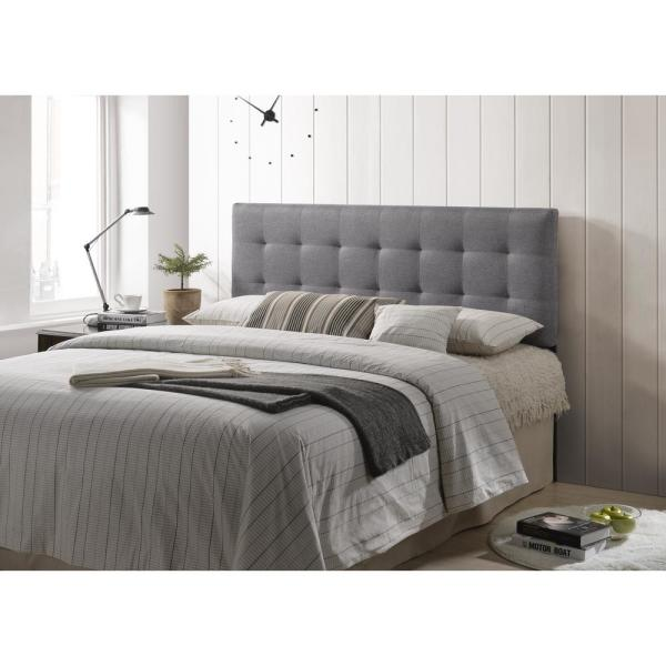 Poly and Bark Gray Guilia Square-Stitched Headboard, Queen Size EM .