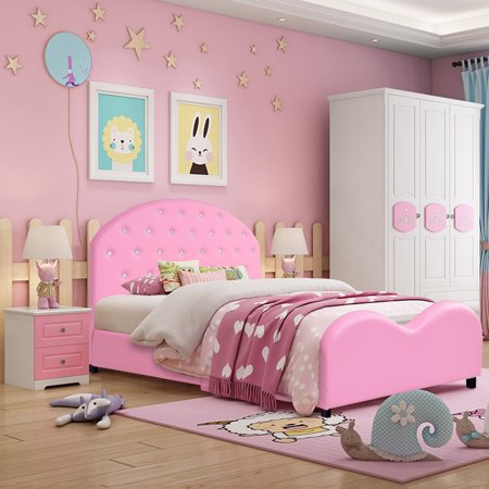Costway Kids Children PU Upholstered Platform Wooden Princess Bed .