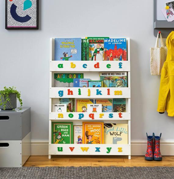 Childrens Bookcase White Wood Kids Bookshelf with 3D Colour | Et