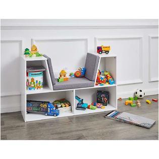 AmazonBasics Kids Bookcase with Reading Nook and Storage Shelves .